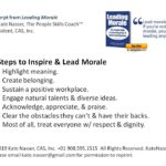 Leading High Morale: Image is infographic of 7 steps.