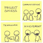 IT Customer Service Training: Image is stick figures working together.