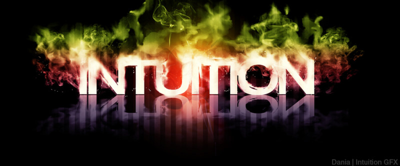 Intuitive Leadership: Image is word Intuition in background of colored smoke