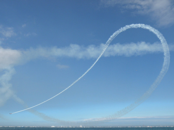 Key People Skills to Trail Blaze: Image is a jet's white jet stream in the sky.