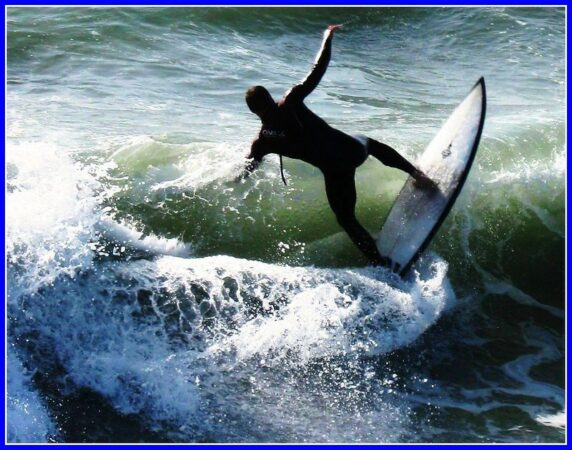 Leadership Uncertainty: Image is surfer on board in rough waters.