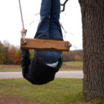 Leadership Vitality Be Agile Not Erratic: Image is person going wild on a swing.