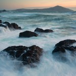 Team Dynamics: Image is stormy waters on rocks.