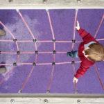 Valuable Leadership Trust: Image is child walking on high rope bridge
