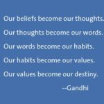 Workplace Ready People Skills: Image is Gandhi quote about beliefs thoughts words actions.