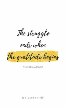 """Acceptance Speeches: Image is quote """"The struggle ends when the gratitude begins. Neale Donald Walsh"""
