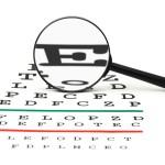 Leadership optimism: Image is eye chart w/ big E for explore.