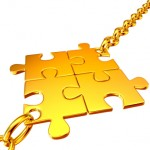Millennials Success: Image is Gold puzzle pieces fitting together.
